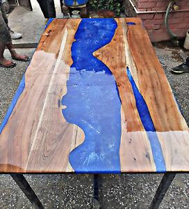 Epoxy Table Furniture Resort,Dining Decorative Blue Olive Custom Order Wooden