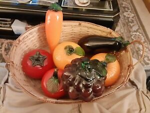 Lot Of 7 Glass Murano Style Fruit And Vegetables With Basket