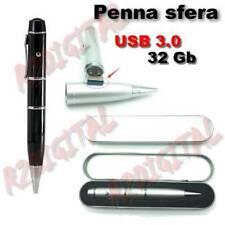 PENNA SFERA USB 3.0 32GB PENDRIVE BIRO PEN ASTUCCIO DRIVE FLASH MEMORIA 32 GB