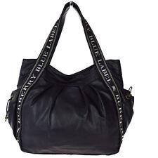 Authentic BURBERRY BLUE LABEL Logos Shoulder Bag Canvas PVC Leather Black 01M816