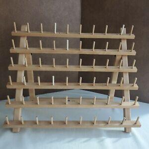 Vintage June Taylor 60 Spool Wood Thread Holder Rack (Stand or Hang) Sewing