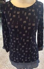 Crown & Ivy Navy & Blue Paris Themed Top Size Small