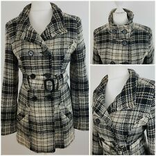 Jane Norman Womens Black Grey Mix Wool Jacket Coat Double Breasted Checked 14