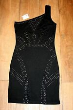 NEW&TAGS one shoulder dress SIZE 10 STUDDED EMBELLISHED club party xmas ART DECO