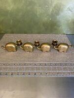 Vintage Brass Elephant Candle Holders 4 Elephants 3 Holders- Mid Century