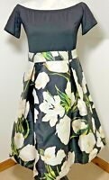 AX PARIS Size 12 Black Cream fit & flare dress Floral Lilly vintage Style 50's