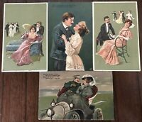 Lot of 4 Men & Women~Romantic Artist Drawn~Romance Antique~PFB~Postcards~a433