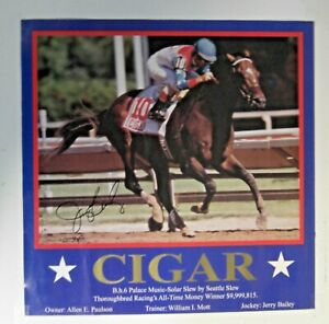 1996 - CIGAR poster - Autographed by Hall of Fame Jockey - JERRY BAILEY - MINT