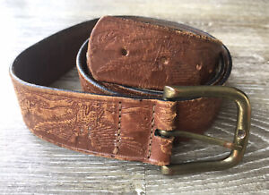 Vintage Tan Brown Leather Brass Buckled Belt Tooled Western Retro 70's 34 36 38