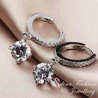 18K White Gold GP Made With Swarovski Element 2.0 ct Round Cut Huggie Earrings