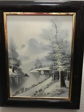 "Beautiful 16x 20"" Winter Landscape Oil Painting by A. Lampert Framed 23A42516"