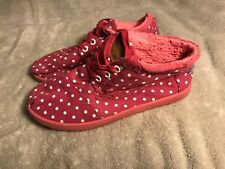 Toms Youth Size 5 Pink White Polka Dot Casual  Canvas Tennis Shoes Girls SC8