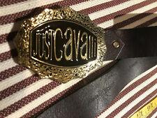 """JUST CAVALLI Vintage Leather men's belt dark brown 32-36"""""""