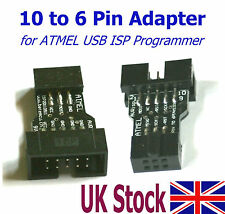 10 Pin to 6 Pin Adapter for ATMEL USB ISP AVR Programmer  USBasp - UK Stock