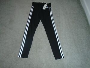 Adidas 3 Stripe Tight Normal Length Black Pants Size Small (8-10) New With Tags