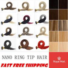 "1G 14""-24'' Nano Ring Human Hair Extensions Halo Micro Loop Beads Double Drawn"