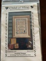 Child Of Mine Cross Stitch Kit With Fabric, Threads, And Baby Bootie Charm
