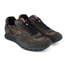 Men's Prada Runners Camo Khaki Trainers Size UK 8 US 9 Brand New With Box