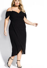 City Chic Dress Size 16 Womens Black Maxi Entwine Cocktail Off Shoulder