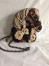 Gorgeous Mary Frances Horse Head Novelty Handbag Black Gold White Beaded