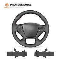 Soft Black Genuine Leather Steering Wheel Cover for Hyundai Sonata 9 2015-2017