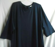 NAVY BLUE KNIT 3/4 SLEEVE SHIFT DRESS POCKETS AT SIDE BOW TIE IN BACK 4X 28W-30W