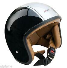 CASQUE JET Fibre de verre - Noir et Silver- Intérieur CUIR - Taille XL