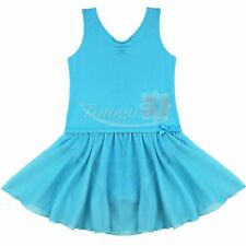 Girls Toddler Ruffles GYM Ballet Dance Dress Leotard Tutu Skirt Costume 3-14Y