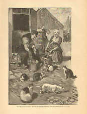 Fisherman, Daughter, Cleaning Fish, Attracts Cats, 1890 German Antique Art Print
