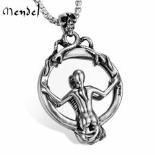 MENDEL Stainless Steel Halloween Mens Punk Biker Skull Mirror Pendant Necklace