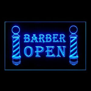 160008 BARBER OPEN Poles Haircut Hairdresser Trendy Hair Display Neon Sign