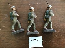 Group Of 3 WWII ? Composition  Marching Soldiers With Gun Lineol Lot 4