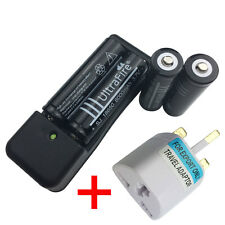 4 X Battery 18650 6000mAh 3.7V Li-ion Rechargeable + Charger and UK Adaptor