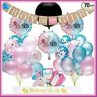 70 pc BABY GENDER REVEAL Complete Party Supplies Decorations Set!