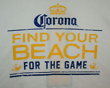 Corona Extra / Light Find Your Beach #1 Beer White 2 Sided T-Shirt New NOS Sz LG