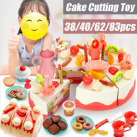 38/40/68/83pcs Pretend Role Play Kitchen Toy Birthday Cake Food Cutting Set Kids