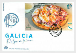 spain 2021 espagne food gastronomy GALICIAN OCTOPUS galicia pulpo poulp ms1v FDC
