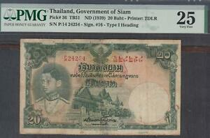 Thailand, Government Of Thailand 20 Baht Banknote P-36 ND 1939 PMG 25