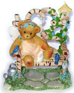 CHERISHED TEDDIES 2004 FIGURINE, ALONNA, ANGEL, BENCH BIRDHOUSE, LE, 0000821 NIB