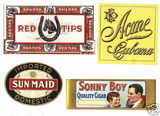 4 Cigar Box Labels- Acme Cubana, Red Tips, Sonny Boy, Sun Maid