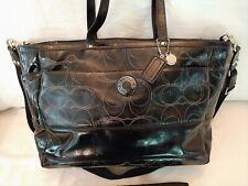 Coach Signature Stitched Patent Leather Diaper Bag Purse F19256 Mint