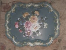 VINTAGE BLUE GREEN TOLE TOLEWARE FLORAL ROSES HANDPAINTED LARGE TRAY SCALLOPED