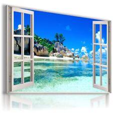 BEACH SEA OCEAN PARADISE 3D Window View Canvas Wall Art Picture W560 MATAGA .