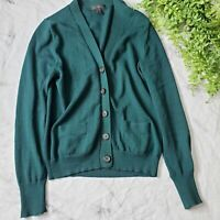 J. Crew Forest Green 100% Merino Wool Button Up V-Neck Cardigan Sweater S 4 6