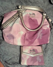 Coach Madison Pink Floral Handbag 17002 & Matching Wallet 45598 Used Once