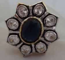 Large Ring with Crystals and Onyx - Size 52/L Adjustable
