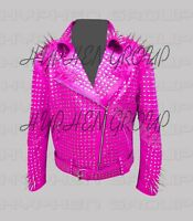 Woman's Full Pink Punk Silver Long Spiked Studded Brando Cowhide Leather Jacket