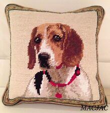 "Beagle Dog Needlepoint Pillow 10""x10"" Nwt"