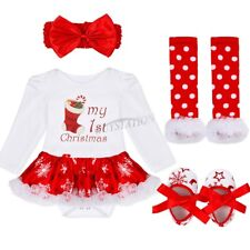 Fancy Infant Baby Girl Christmas Santa Romper Tutu Dress Outfit Headband Clothes