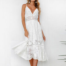 1a672c44c9f Womens Lace Hollow Vintage Strappy Party Short Kaftan Beachwear Midi Swing  Dress White 8